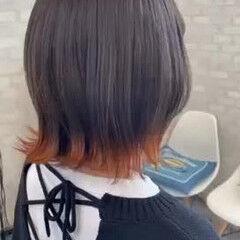 裾カラーオレンジ ガーリー ボブ 切りっぱなしボブ ヘアスタイルや髪型の写真・画像