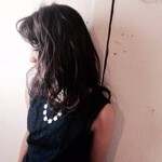 ミディアム ウェットヘア 暗髪 シースルーバング