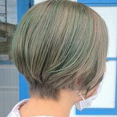 グリーン こなれ感 ショート マット ヘアスタイルや髪型の写真・画像