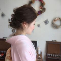 学校 成人式 くるりんぱ 結婚式 ヘアスタイルや髪型の写真・画像