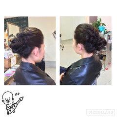 黒髪 ロング ヘアアレンジ お団子 ヘアスタイルや髪型の写真・画像