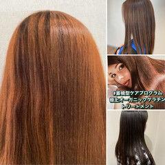 ナチュラル 髪質改善トリートメント 縮毛矯正ストカール ロング ヘアスタイルや髪型の写真・画像