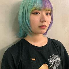 モード ハイトーンカラー ユニコーンカラー ブリーチオンカラー ヘアスタイルや髪型の写真・画像