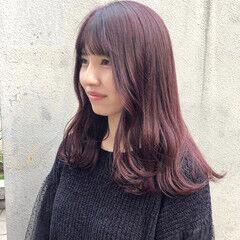 ボルドー フェミニン セミロング ピンクラベンダー ヘアスタイルや髪型の写真・画像