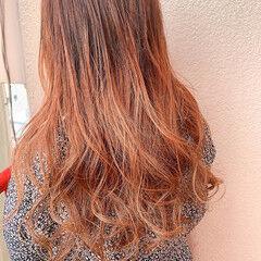 セミロング 透明感カラー アプリコットオレンジ メンズマッシュ ヘアスタイルや髪型の写真・画像