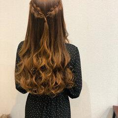 編み込み ハーフアップ ロング 結婚式 ヘアスタイルや髪型の写真・画像