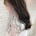 前髪インナーカラー ロング フェミニン インナーカラーホワイト