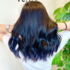 青紫 ガーリー ツヤ髪 アッシュグレージュ ヘアスタイルや髪型の写真・画像
