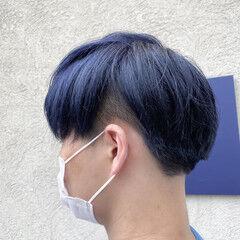 ショート ネイビー ダブルカラー ネイビーブルー ヘアスタイルや髪型の写真・画像