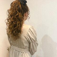 ポニーテールアレンジ ヘアアレンジ ヘアセット リボン ヘアスタイルや髪型の写真・画像