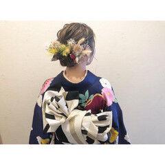 ミルクティーベージュ ドライフラワー ボブ ハイライト ヘアスタイルや髪型の写真・画像