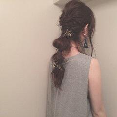 ローポニーテール ヘアクリップ セルフヘアアレンジ ヘアアレンジ ヘアスタイルや髪型の写真・画像