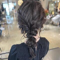 ヘアアレンジ 編みおろし フェミニン ヘアセット ヘアスタイルや髪型の写真・画像