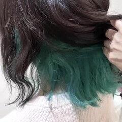 グリーン インナーカラー ブリーチカラー ダブルカラー ヘアスタイルや髪型の写真・画像