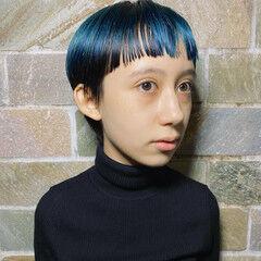 ブルー モード ターコイズブルー ショート ヘアスタイルや髪型の写真・画像