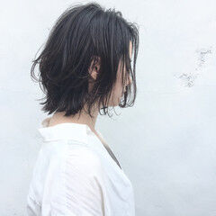 暗髪 ボブ レイヤーカット すっきり ヘアスタイルや髪型の写真・画像