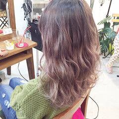 ピンクアッシュ ストリート グラデーションカラー セミロング ヘアスタイルや髪型の写真・画像