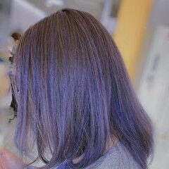 ミディアム ラベンダーアッシュ ストリート インナーカラー ヘアスタイルや髪型の写真・画像