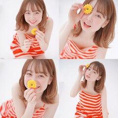 オレンジ ウルフカット ガーリー ミディアム ヘアスタイルや髪型の写真・画像
