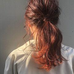 透明感 ヘアアレンジ カシスレッド セミロング ヘアスタイルや髪型の写真・画像