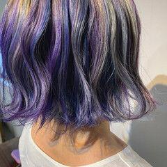 ストリート ブルーバイオレット ピンクベージュ ユニコーンカラー ヘアスタイルや髪型の写真・画像