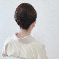 エレガント 黒髪 ミディアム 和装ヘア ヘアスタイルや髪型の写真・画像