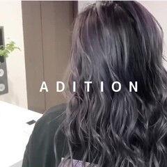 シルバーアッシュ バレイヤージュ ミディアム エアータッチ ヘアスタイルや髪型の写真・画像