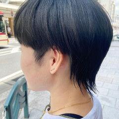 ブルーアッシュ ニュアンスウルフ ミディアム アッシュ ヘアスタイルや髪型の写真・画像