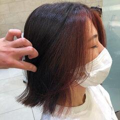モード 外ハネボブ インナーカラー 白髪染め ヘアスタイルや髪型の写真・画像