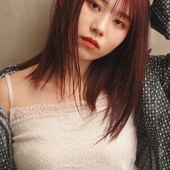 大人ミディアム ミディアム ピンクブラウン 秋冬スタイル ヘアスタイルや髪型の写真・画像