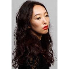 モード 波ウェーブ 黒髪 ロング ヘアスタイルや髪型の写真・画像
