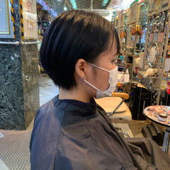 ショート アッシュ ナチュラル ショートボブ ヘアスタイルや髪型の写真・画像