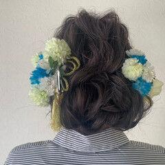 成人式ヘア シニヨン ミディアム フェミニン ヘアスタイルや髪型の写真・画像