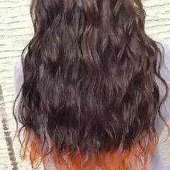 派手髪 裾カラー 裾カラーオレンジ ロング ヘアスタイルや髪型の写真・画像