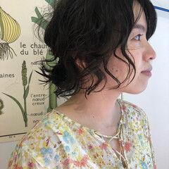 ルーズヘア ミディアム ミニボブ パーマ ヘアスタイルや髪型の写真・画像