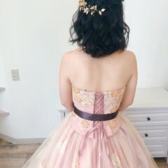 ハーフアップ フェミニン ヘアアレンジ 結婚式 ヘアスタイルや髪型の写真・画像