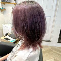 韓国 インナーピンク ナチュラル ピンクラベンダー ヘアスタイルや髪型の写真・画像