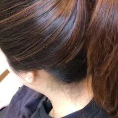 暖色 バレイヤージュ デート ミディアム ヘアスタイルや髪型の写真・画像