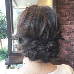 フェミニン ロープ編み 結婚式 セミロング ヘアスタイルや髪型の写真・画像