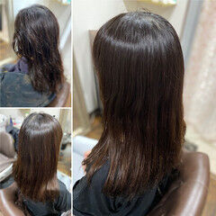 セミロング ガーリー 髪質改善 髪質改善トリートメント ヘアスタイルや髪型の写真・画像