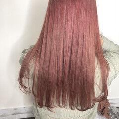 ピンクアッシュ ナチュラル ピンクベージュ ロング ヘアスタイルや髪型の写真・画像