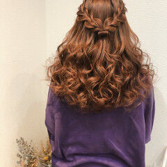 ヘアセット ハーフアップ ヘアアレンジ 編み込み ヘアスタイルや髪型の写真・画像