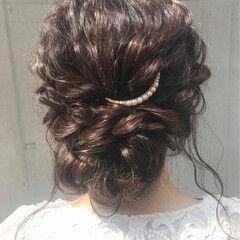 結婚式 セミロング ナチュラル ヘアアレンジ ヘアスタイルや髪型の写真・画像