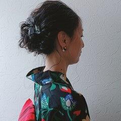 セミロング お祭り ヘアアレンジ 花火大会 ヘアスタイルや髪型の写真・画像
