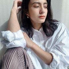 イルミナカラー サイエンスアクア ヌーディーベージュ セミロング ヘアスタイルや髪型の写真・画像
