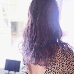 ラベンダーアッシュ イルミナカラー ブリーチ必須 セミロング ヘアスタイルや髪型の写真・画像