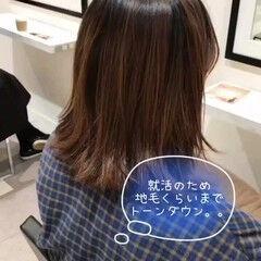 暗髪女子 暗髪 就活 セミロング ヘアスタイルや髪型の写真・画像