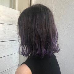 パープルカラー 裾カラー パープル インナーカラー ヘアスタイルや髪型の写真・画像