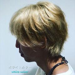 ヘアカラー メンズ アディクシーカラー ホワイトカラー ヘアスタイルや髪型の写真・画像