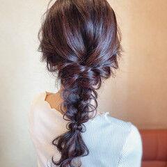 パーティ ロング 結婚式 編みおろし ヘアスタイルや髪型の写真・画像